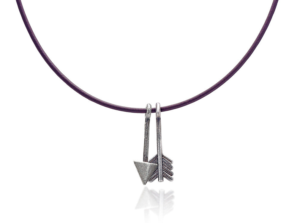 Mariano Di Vaio - Sterling Silver Arrow with Leather Necklace