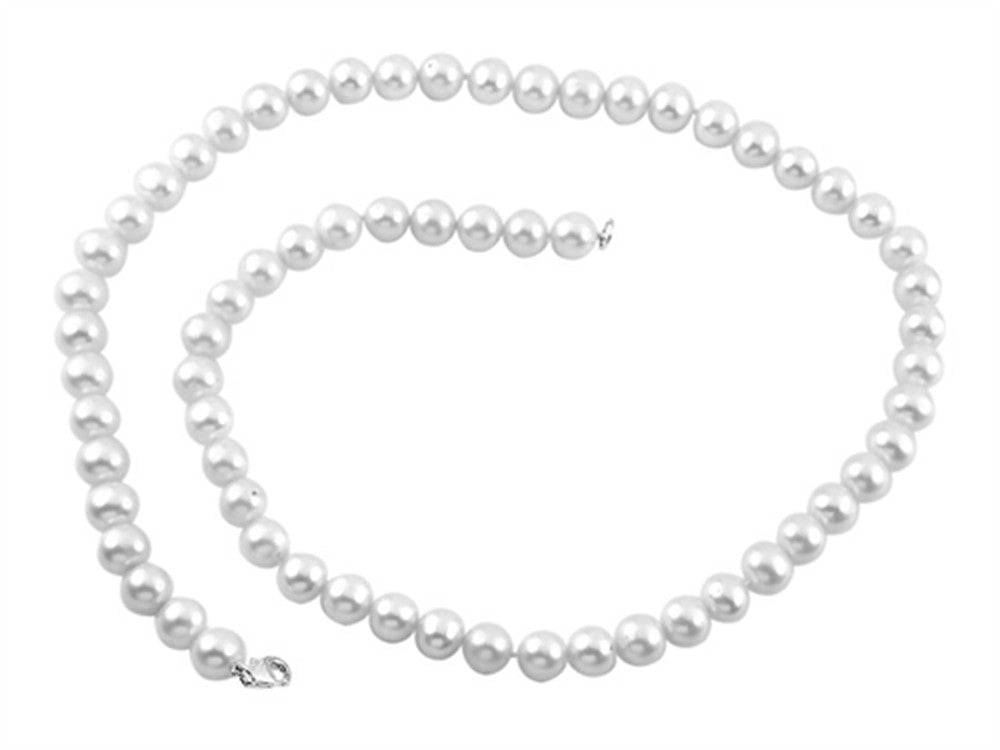 7.5-8.00mm White Potato Freshwater Cultured Pearls 18 Inch Necklace