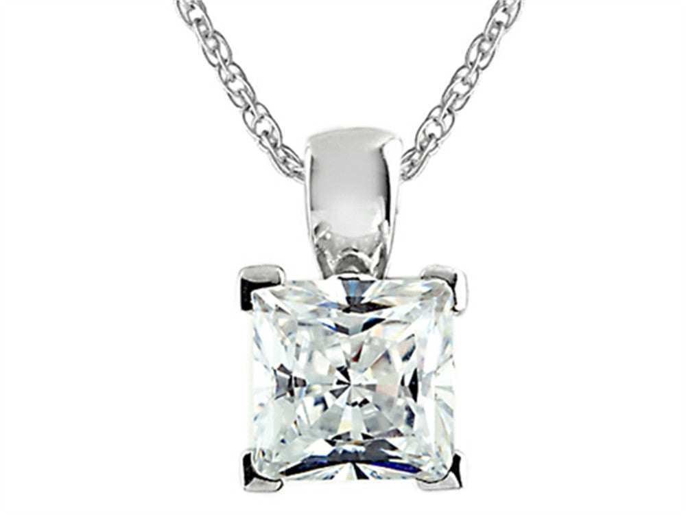 7x7mm White Cubic Zirconia Antique Shaped Pendant Necklace with 18 Inch Chain