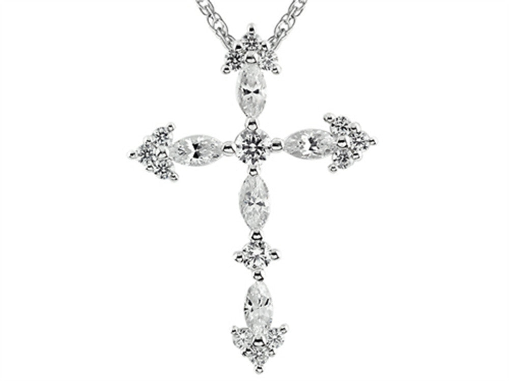 3mm White Cubic Zirconia Created Antique Shaped Cross Pendant Necklace With 18 Inch Chain