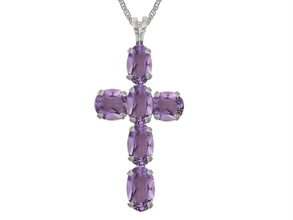 6x4mm Oval Amethyst Cross Pendant Necklace- 18 Inch Chain Included