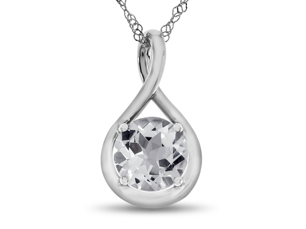 Finejewelers 7mm Round White Topaz Twist Pendant Necklace - Chain Included