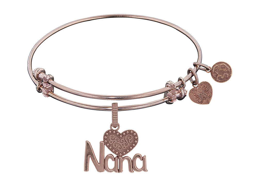 Brass Pink Finish Nana Charm On Pink Angelica Collection Bangle