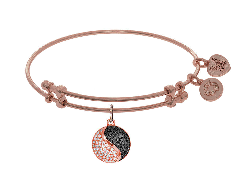 Brass With Black+pink Yin-yang Charm On Pink Angelica Collection Bangle