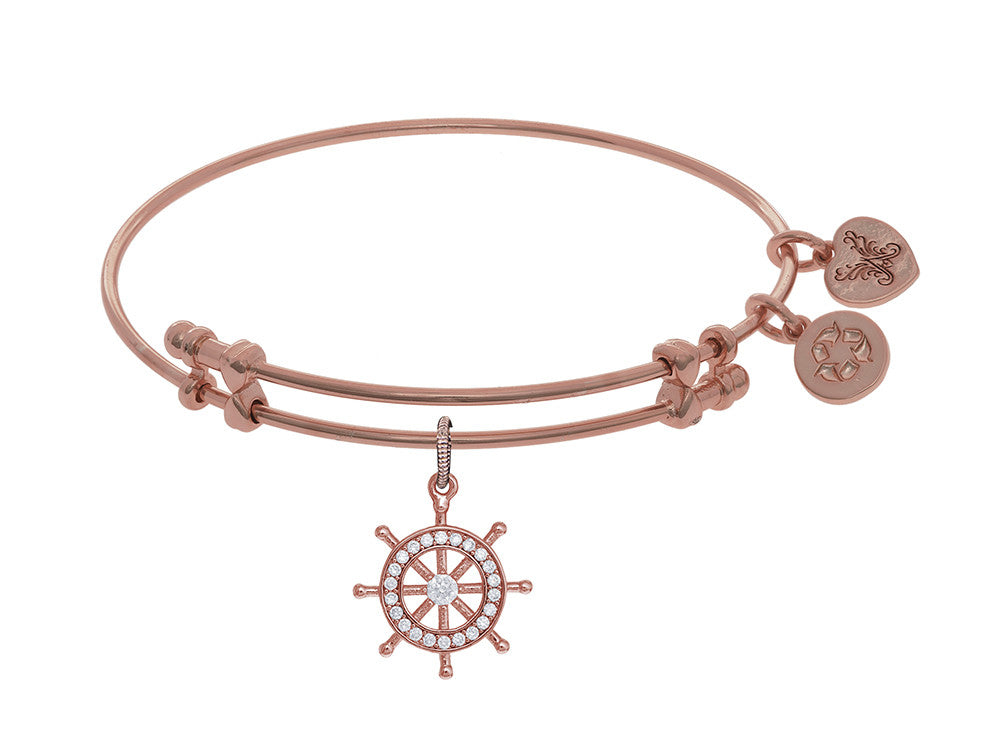 Angelica Collection Brass With Yellow Ship's Steering Wheel Charm With White CZ On Pink Bangle