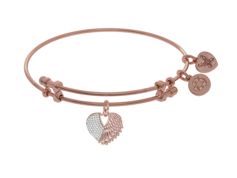 Brass With Pink+white Finish Heart Charm With CZ On Pink Angelica Collection Bangle