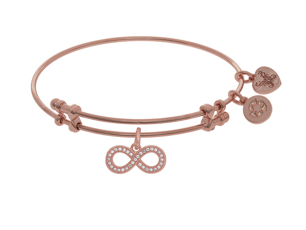 Brass With Pink Finish Charm With White CZ Infinity On Pink Angelica Collection Bangle