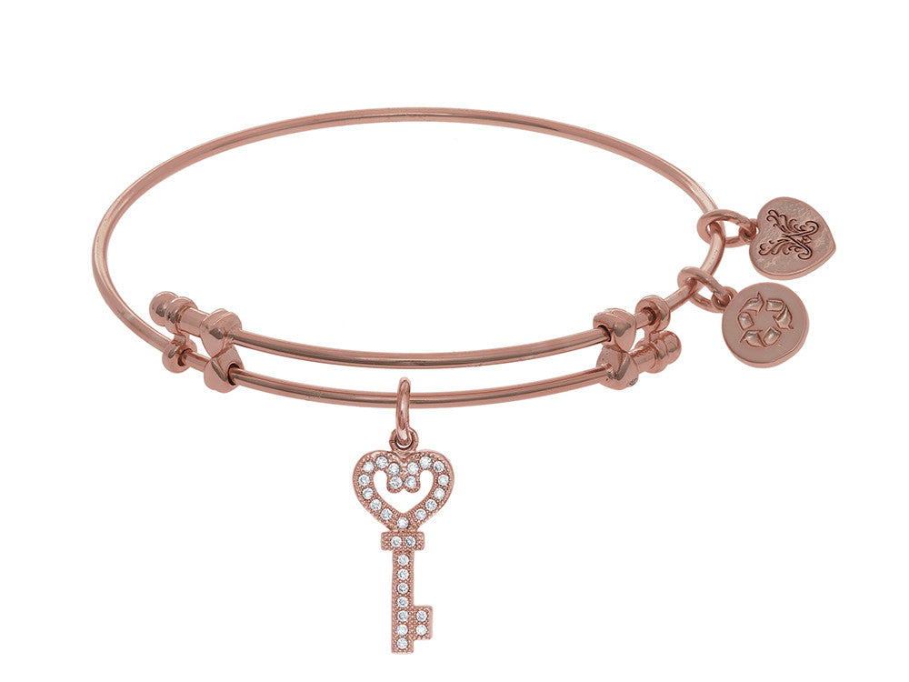 Brass With Pink Key Charm With CZ On Pink Angelica Collection Bangle