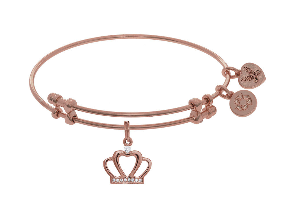 Brass With Pink CZ Crown Charm On Pink Angelica Collection Ba Ngle