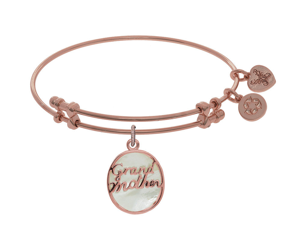 Brass With Pink Oval Grand Mother Charm With Created Mop On Pink Angelica Collection Bangle
