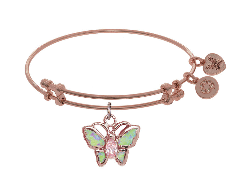Brass With Pink Finish Charm On Pink Angelica Collection Bangle