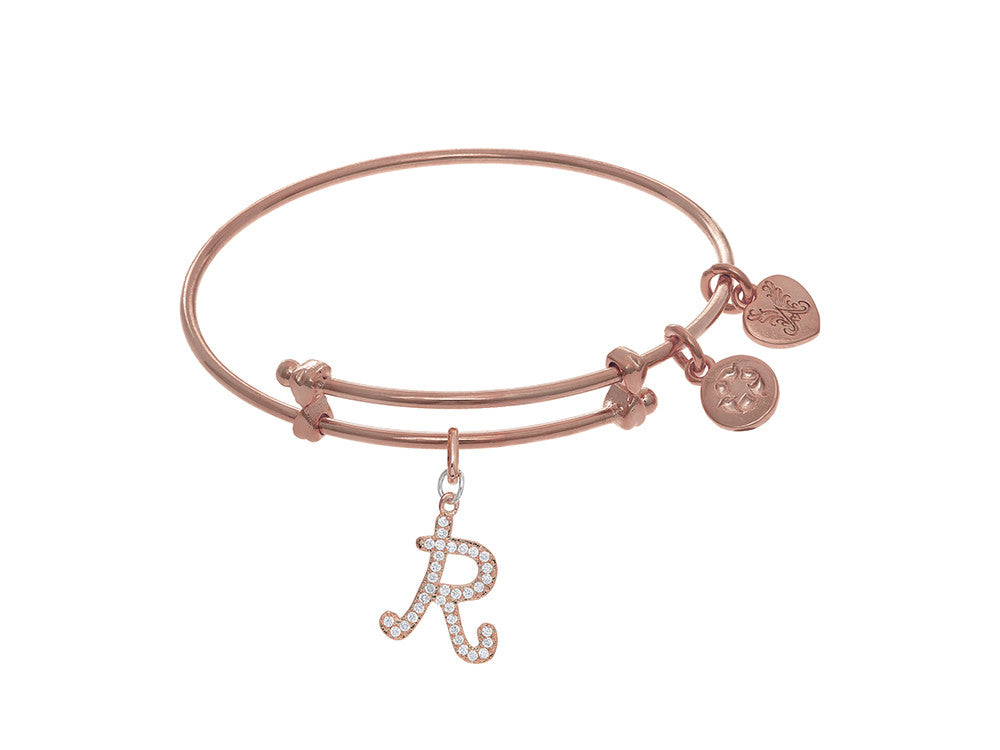 Brass With Pink Finish Charm Initial R On Pink Angelica Tween Bangle
