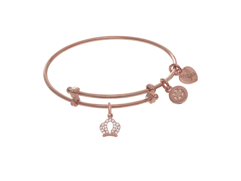 Brass With Pink Crown Small Charm On Pink Angelica Collection Tween Bangle (Small)