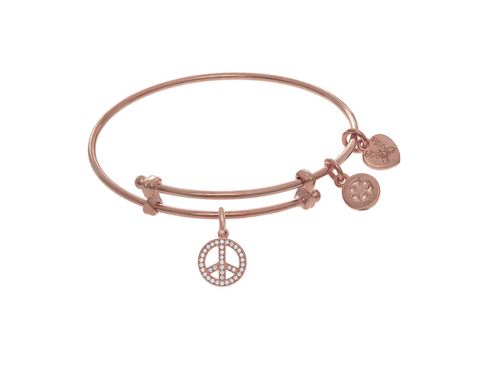 Brass With Pink Peace Charm On Pink Angelica Collection Tween Bangle