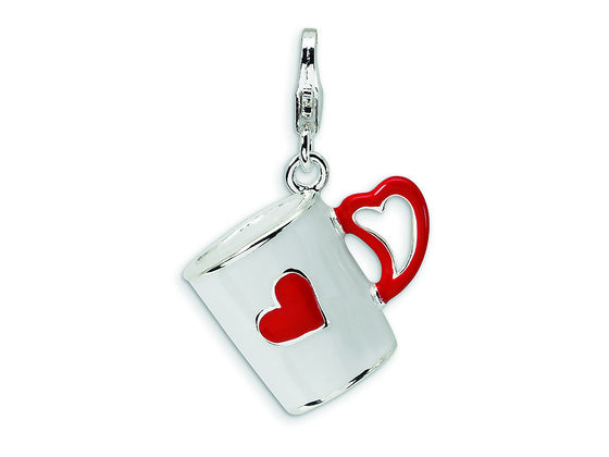 Amore LaVita Sterling Silver 3-D Enameled Coffee Cup with Heart w/Lobster Clasp Bracelet Charm