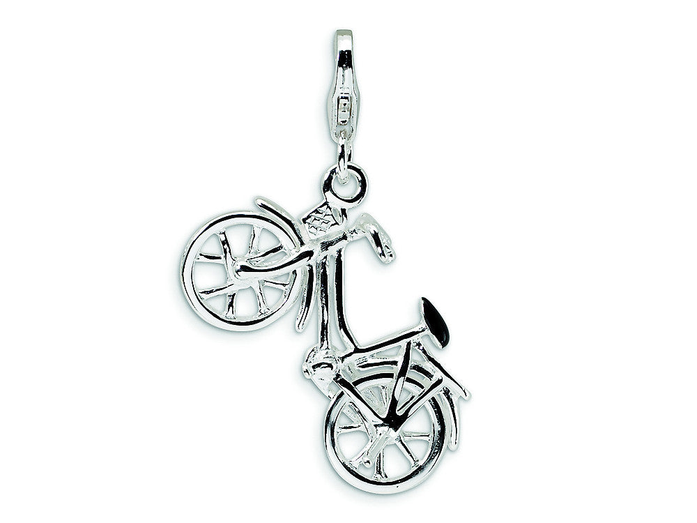 Amore LaVita Sterling Silver 3-D Enameled Bicycle w/Lobster Clasp Charm (Moveable) for Charm Bracelet