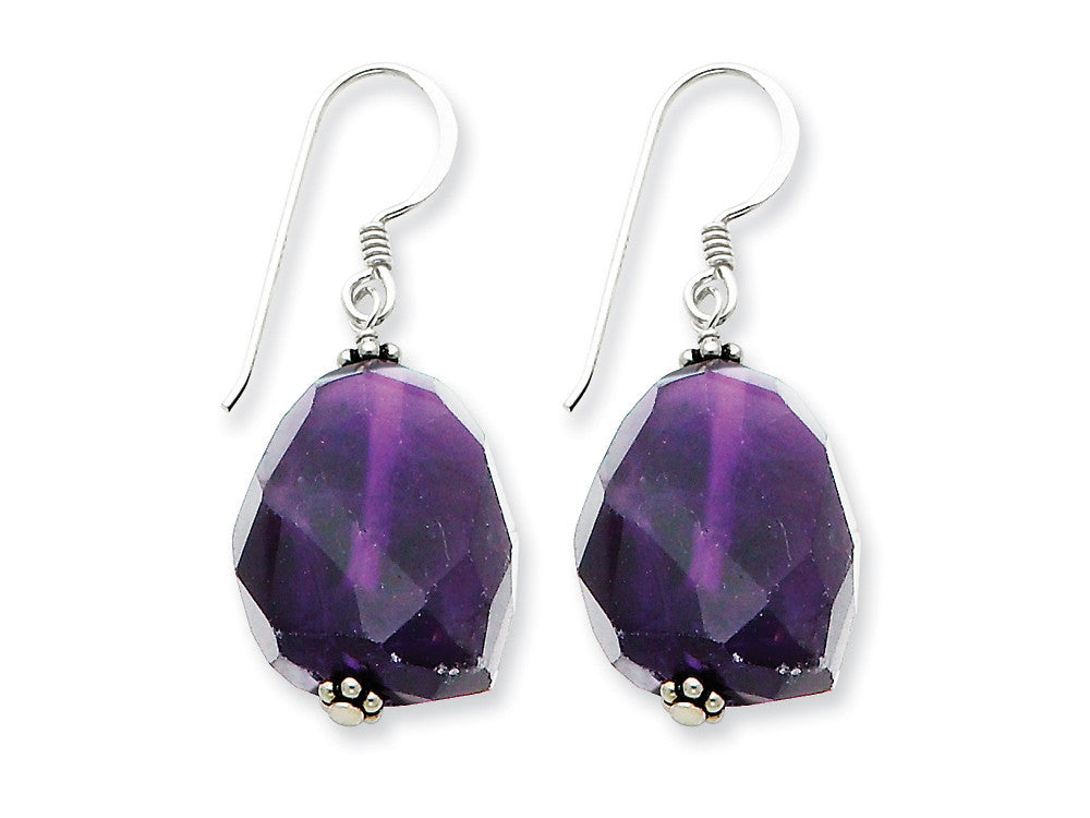 Sterling Silver Large Amethyst Stone Dangle Earrings