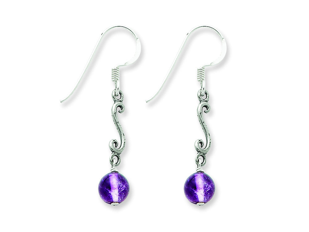 Sterling Silver Amethyst Antiqued Dangle Earrings