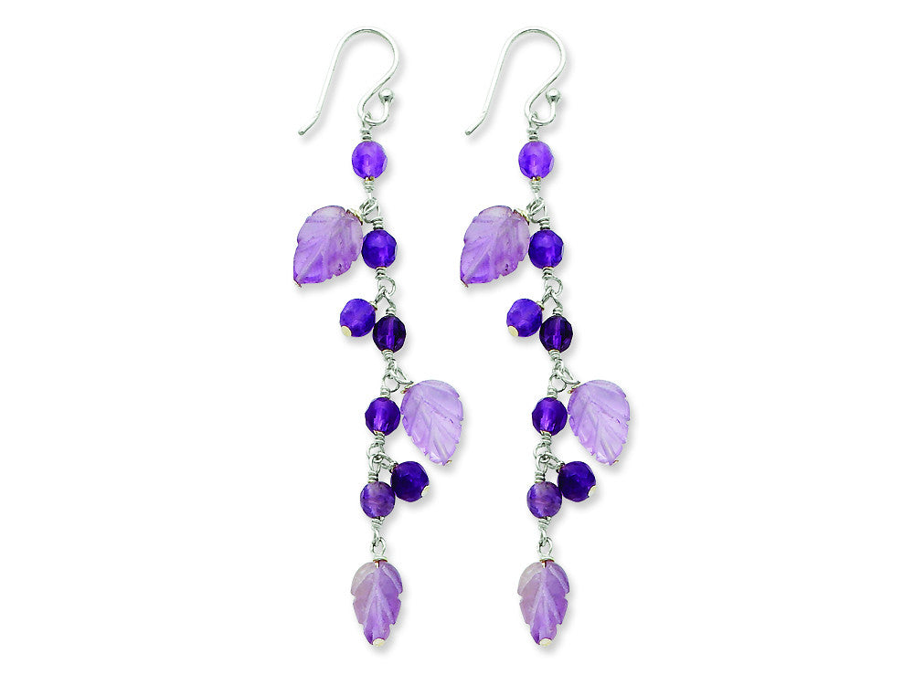 Sterling Silver Amethyst Leaves Dangle Earrings