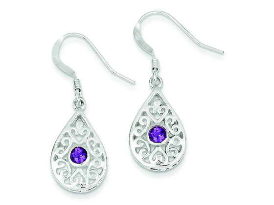Sterling Silver and Amethyst Polished Fancy Filigree Dangle Earrings