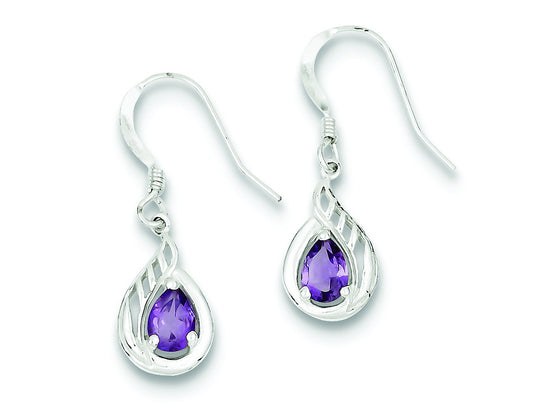 Sterling Silver and Amethyst Polished Fancy Dangle Earrings