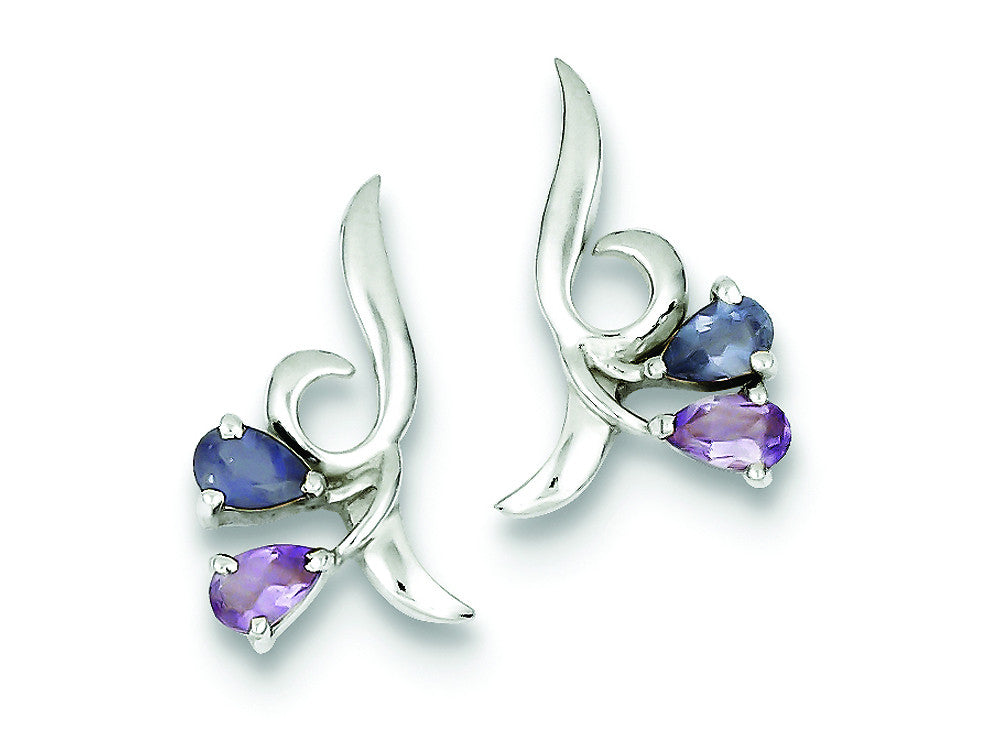 Sterling Silver Polished Amethyst Iolite Post Earrings