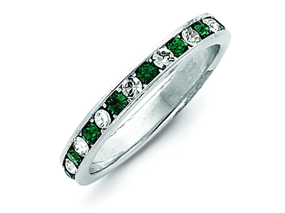 Sterling Silver Green and White Cubic Zirconia Eternity Band