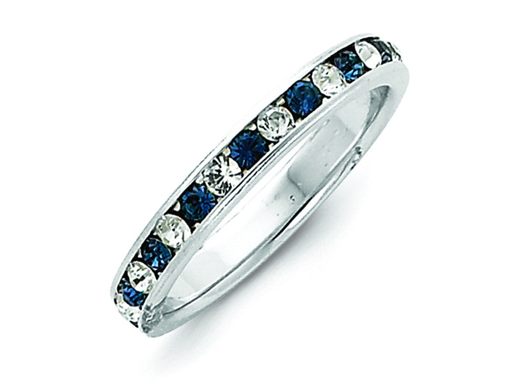 Sterling Silver Blue and White Cubic Zirconia Eternity Band