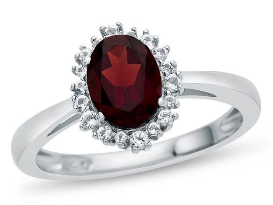 10kt White Gold Oval Garnet with White Topaz accent stones Halo Ring