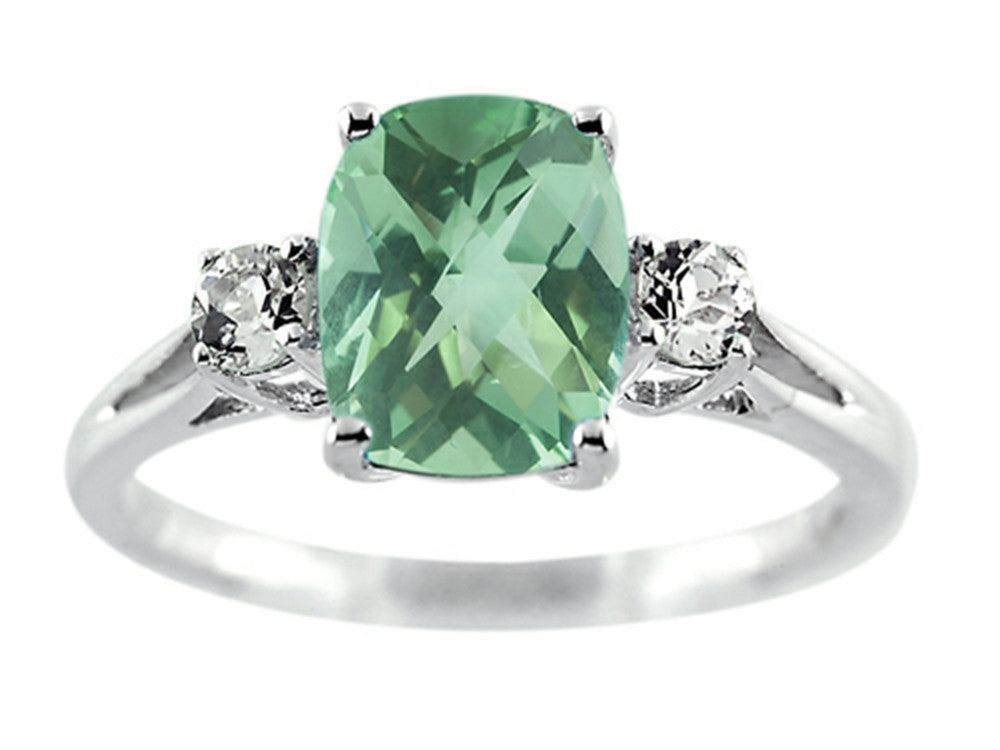 Finejewelers 9x7mm Antique Shaped Green Quartz and White Topaz Ring