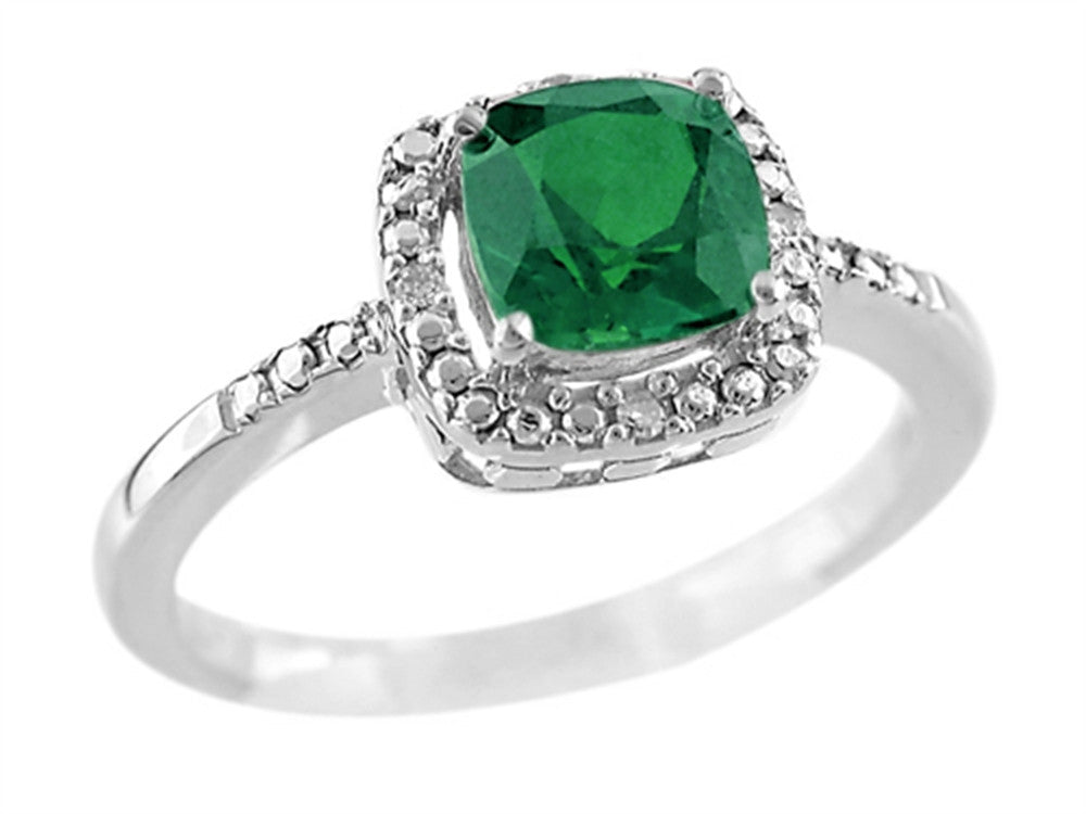 6x6mm Cushion Shaped Created Emerald Ring
