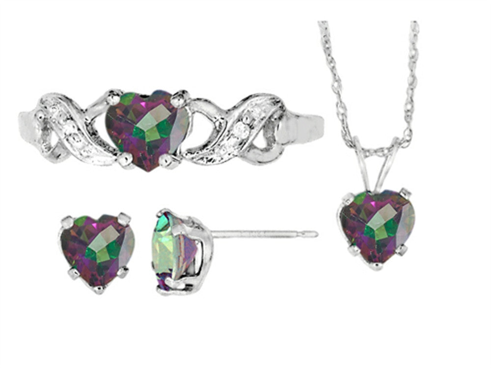 Finejewelers Antique Heart Shaped Mystic Topaz Pendants Earrings and Ring Set