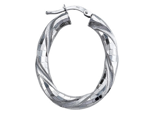 Stellar White Rhodium Oval Twist Hoop Earrings