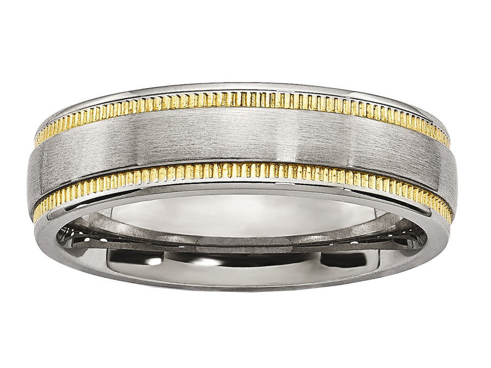 Chisel Stainless Steel Brushed And Polished Yellow Ip-plated Weeding Band