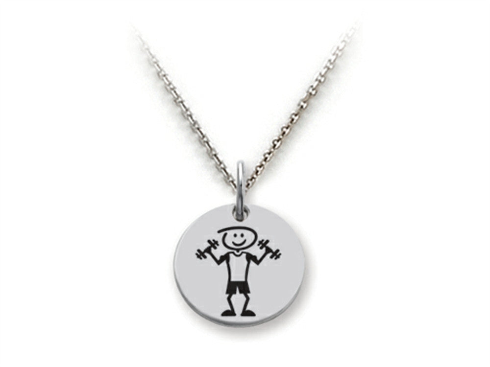 Family Values 925 Sterling Silver Weightlifter Disc Pendant Necklace - Chain Included