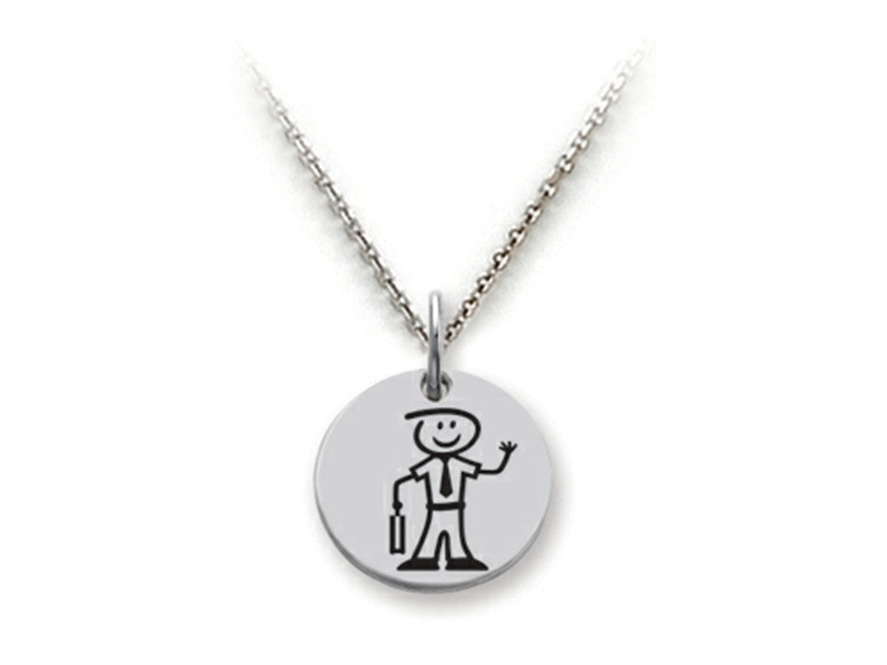 Family Values 925 Sterling Silver Executive Dad Disc Pendant Necklace - Chain Included