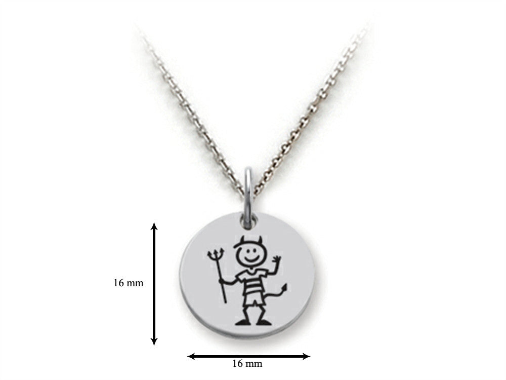 Family Values 925 Sterling Silver Devilish Boy Disc Pendant Necklace - Chain Included
