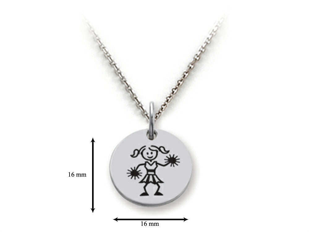 Family Values 925 Sterling Silver Cheerleader Disc Pendant Necklace - Chain Included