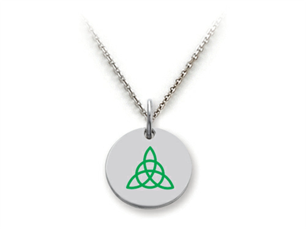 Stellar White 925 Sterling Silver Celtic Triquetra Disc Pendant Necklace - Chain Included