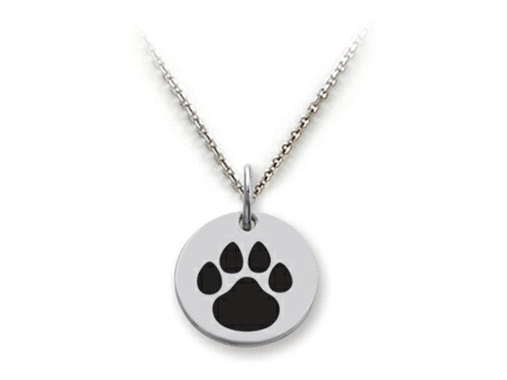 Stellar White 925 Sterling Silver Solid Paw Print Disc Pendant Necklace - Chain Included