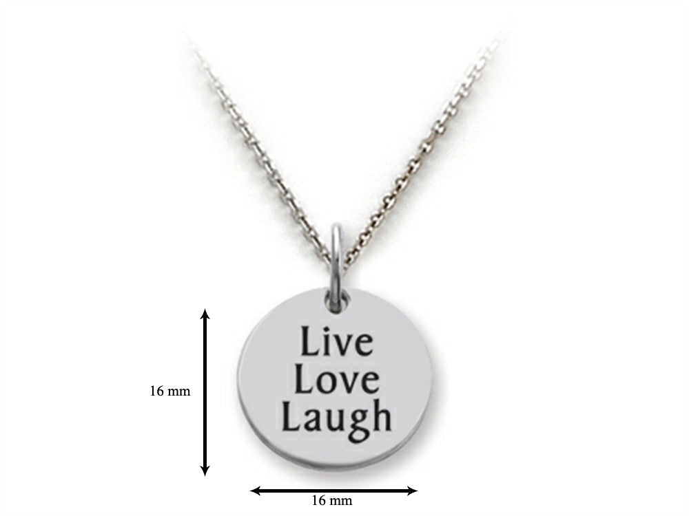 Stellar White 925 Sterling Silver Live Love Laugh (block) Disc Pendant Necklace - Chain Included