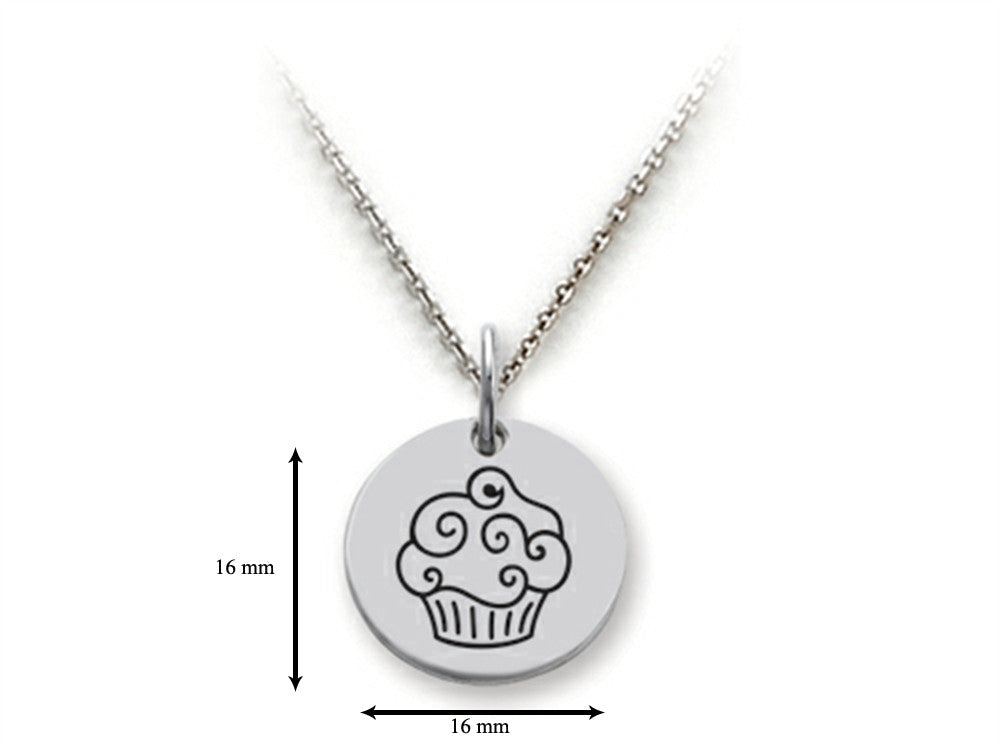 Stellar White 925 Sterling Silver Cupcake Disc Pendant Necklace - Chain Included