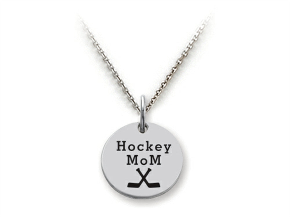 Stellar White 925 Sterling Silver Hockey Mom Disc Pendant Necklace - Chain Included