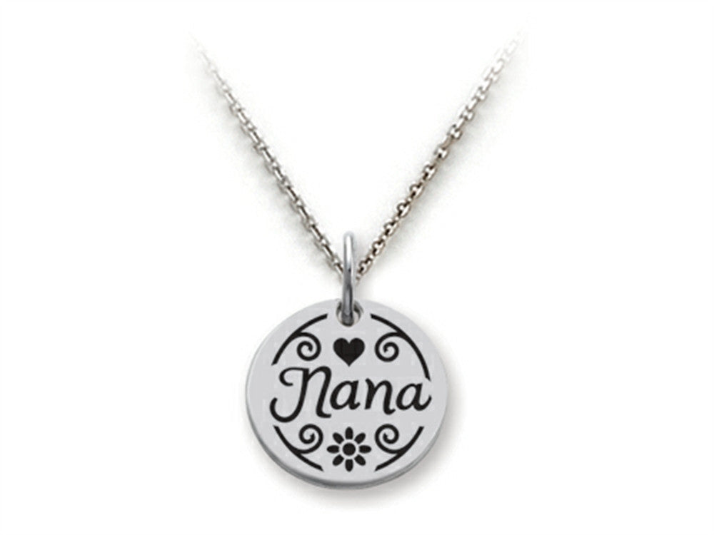 Stellar White 925 Sterling Silver Nana Disc Pendant Necklace - Chain Included