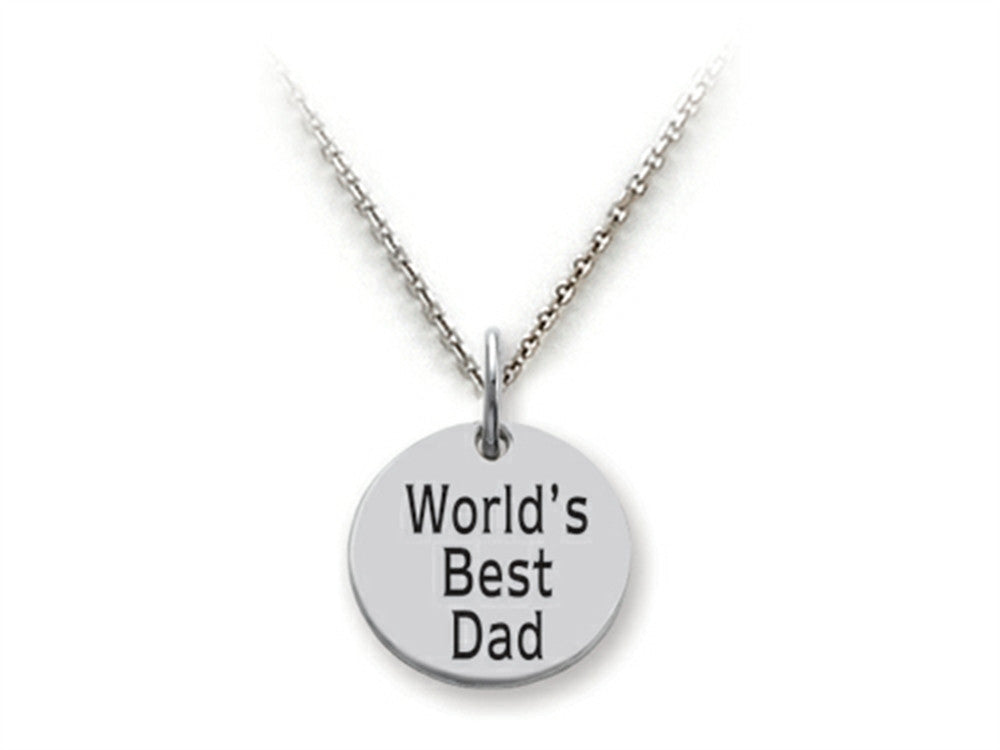 Stellar White 925 Sterling Silver World's Best Dad Disc Pendant Necklace - Chain Included