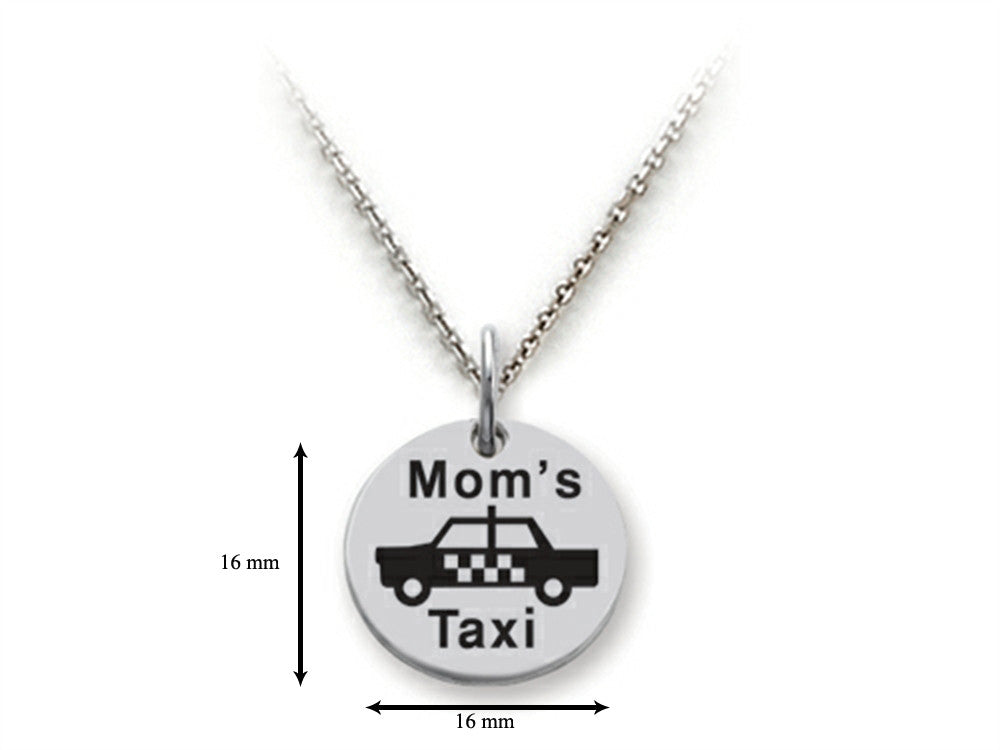 Stellar White 925 Sterling Silver Mom's Taxi Disc Pendant Necklace - Chain Included