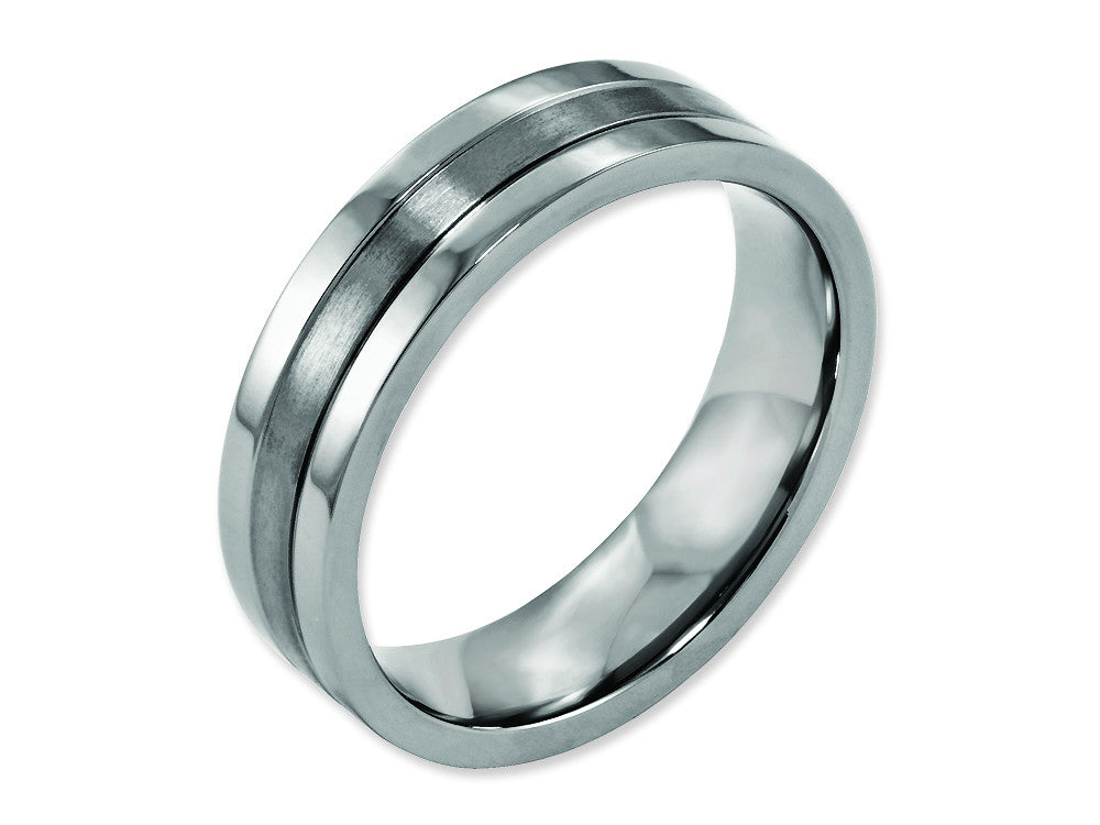 Chisel Titanium Grooved 6mm Brushed And Polished Weeding Band