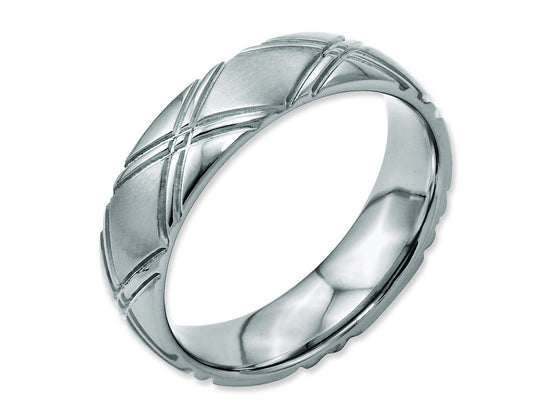 Chisel Titanium Criss-cross Design 6mm Brushed And Polished Weeding Band