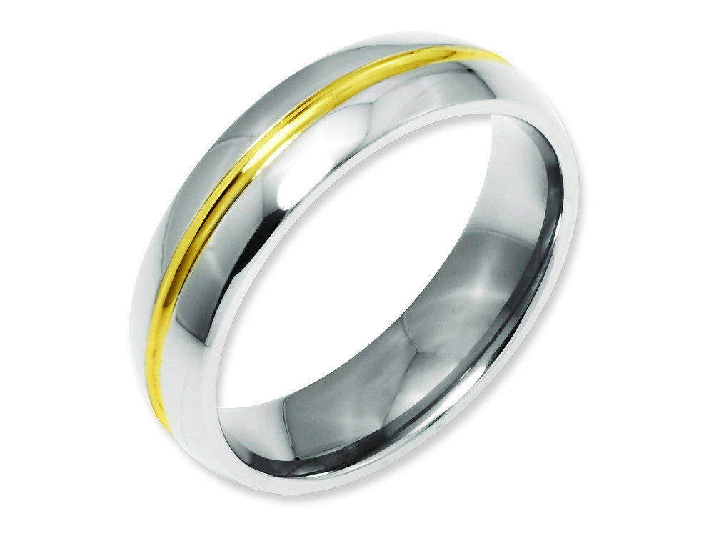 Chisel Titanium Yellow Ip-plated Grooved 6mm Polished Weeding Band