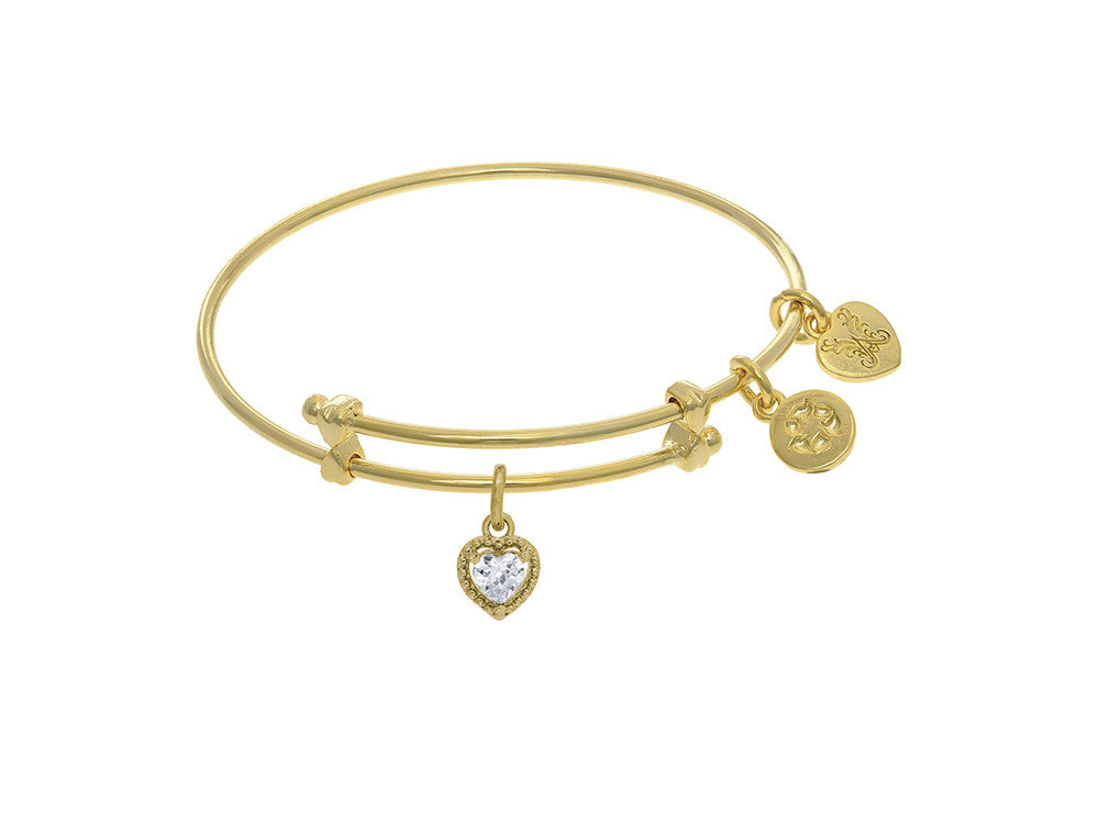 Angelica Collection Brass With Yellow Finish Charm April Heart Shape C Z Birth Month